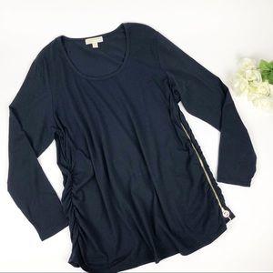 Michael Kors Plus Size Black Long Sleeve Tunic Top